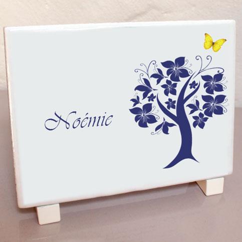 Plaque avec photographie arbre fleuri composition personnalis e - Plaque funeraire originale ...
