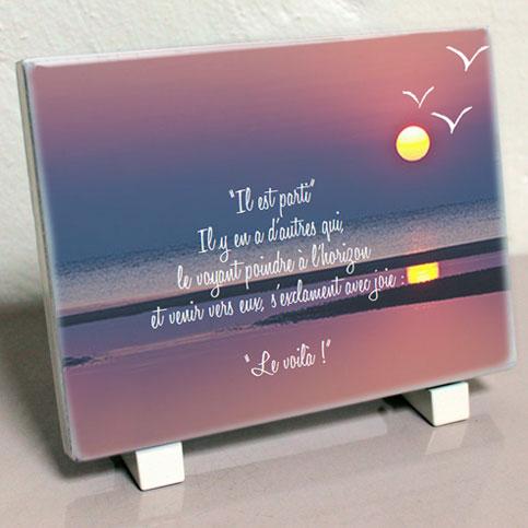 Modele jga351 plaque fun raire soleil oiseaux mer personnalisable avec votre texte et vos - Plaque funeraire originale ...