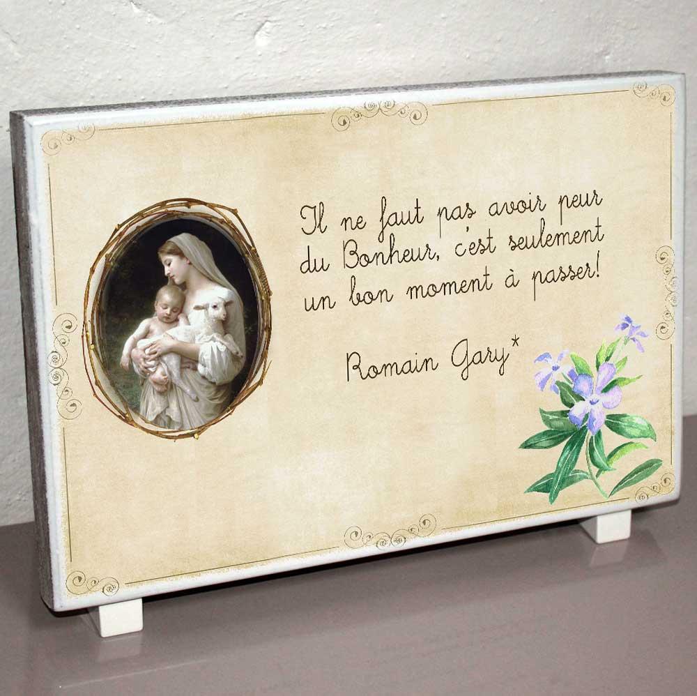 Modele cadrenature plaque fun raire fleur aquarelle bleu spiritualit bouguereau vierge enfant - Plaque funeraire originale ...