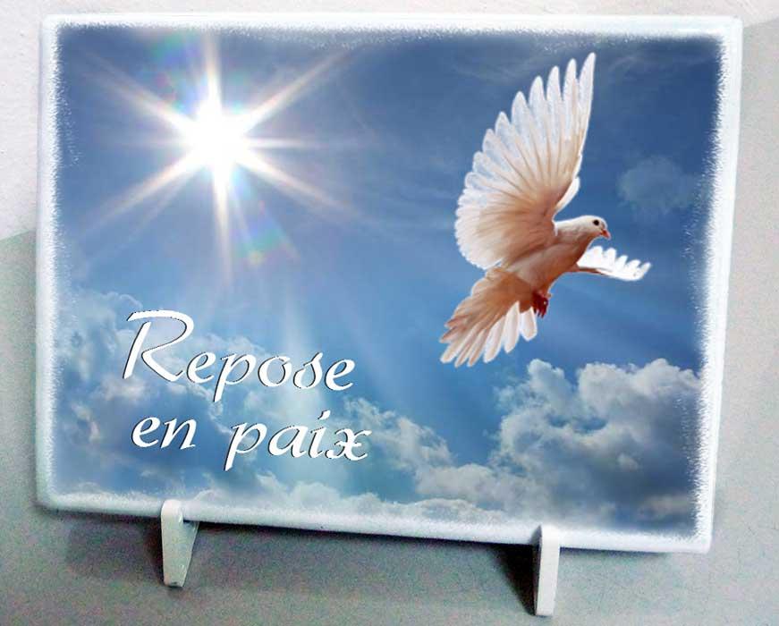 Modele reposeenpaix2 plaque fun raire colombe ciel nuage paix oiseaux personnalisable avec - Plaque funeraire originale ...