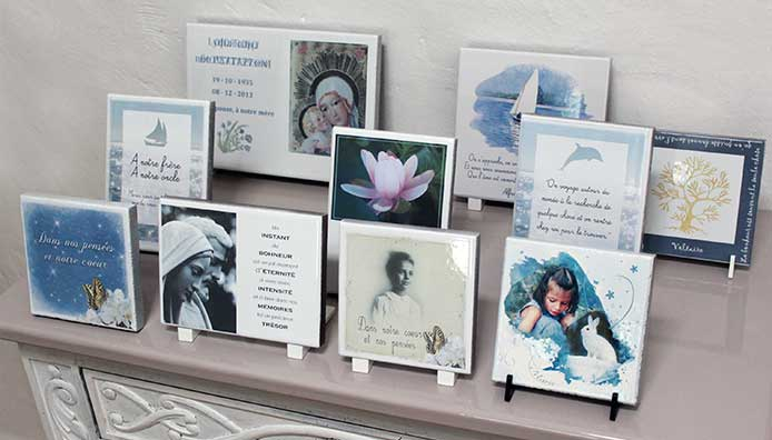plaque commémorative ou funéraire, originale, personnalisée, avec photo dessin texte en pierre de lave emaillée