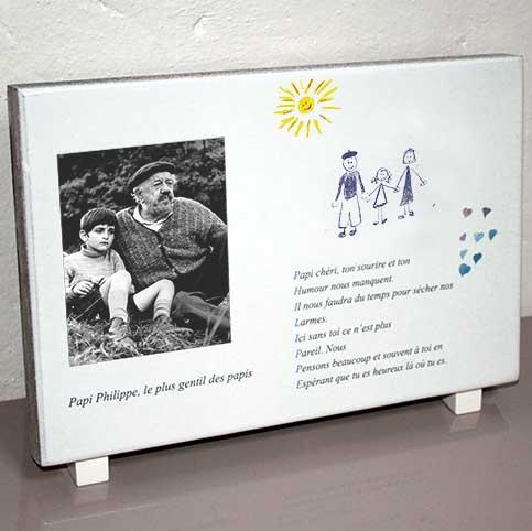 modele 3002dessin plaque fun raire enfant grand p re coeur personnalisable avec votre texte et. Black Bedroom Furniture Sets. Home Design Ideas