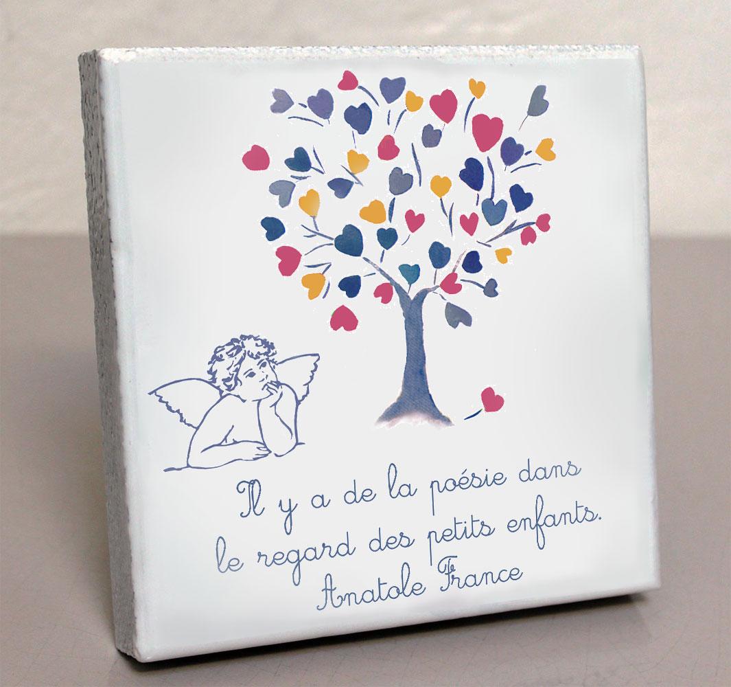Plaque personnalisée, originale,blanche ange,enfant,coeur,arbre,rose,cimetière en couleur