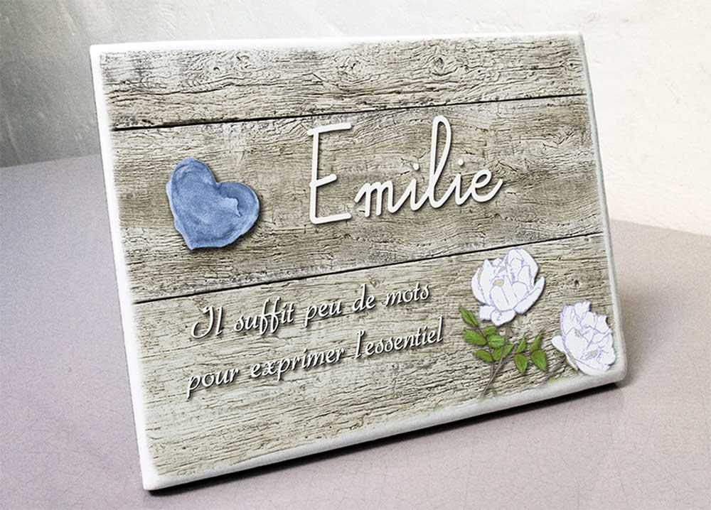 Plaque personnalisée, originale,blanche rose,fleur,coeur,bois,cimetière en couleur