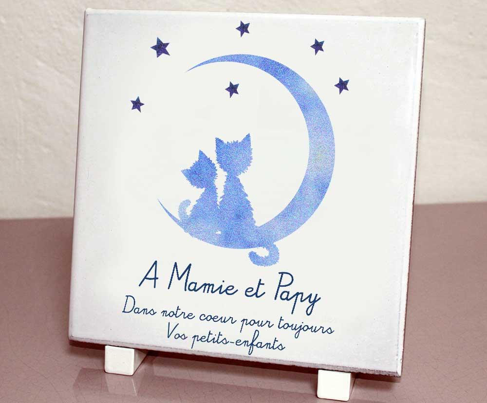 Plaque personnalisée, originale,blanche étoiles,chat,animaux,lune,croissant,cimetière en couleur