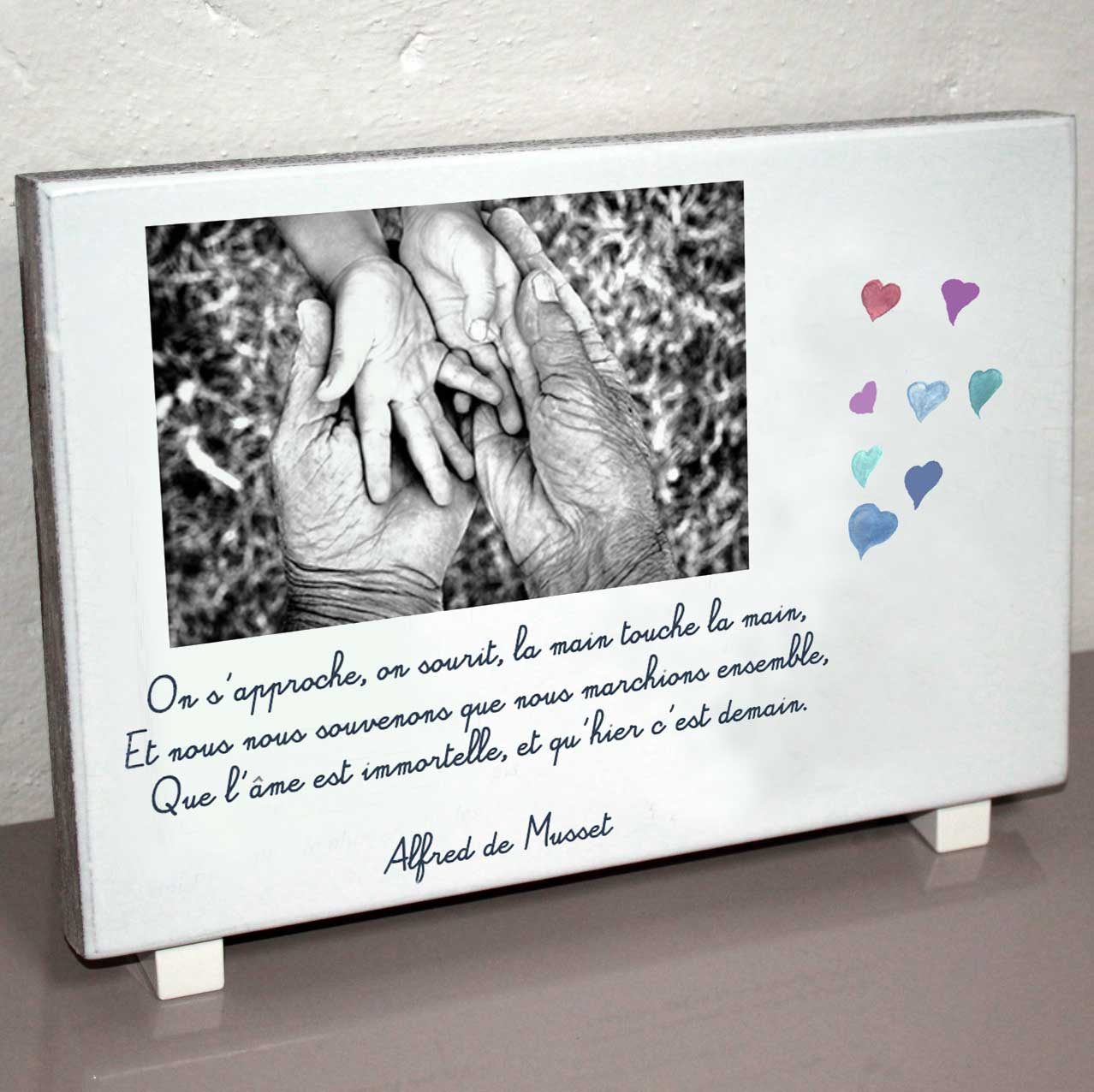 Plaque personnalisée, originale,blanche mains,enfant,grand-père,coeur,cimetière en couleur