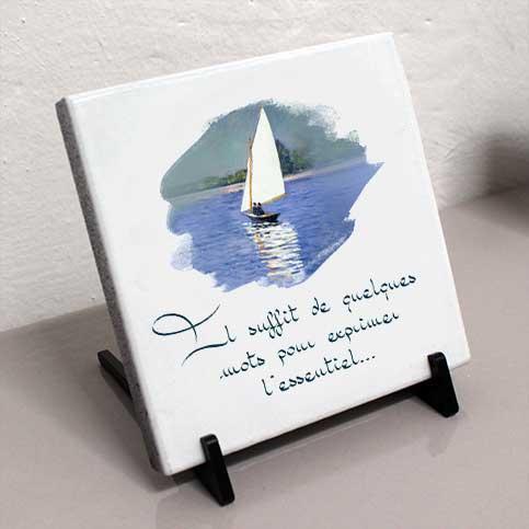 Plaque personnalisée, originale,blanche bateau,mer,bleu,voilier,cimetière en couleur