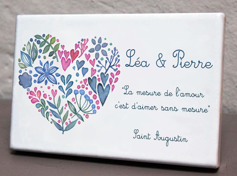 Plaque personnalisée, originale,blanche arbre,coeurs,fleurs,cimetière en couleur