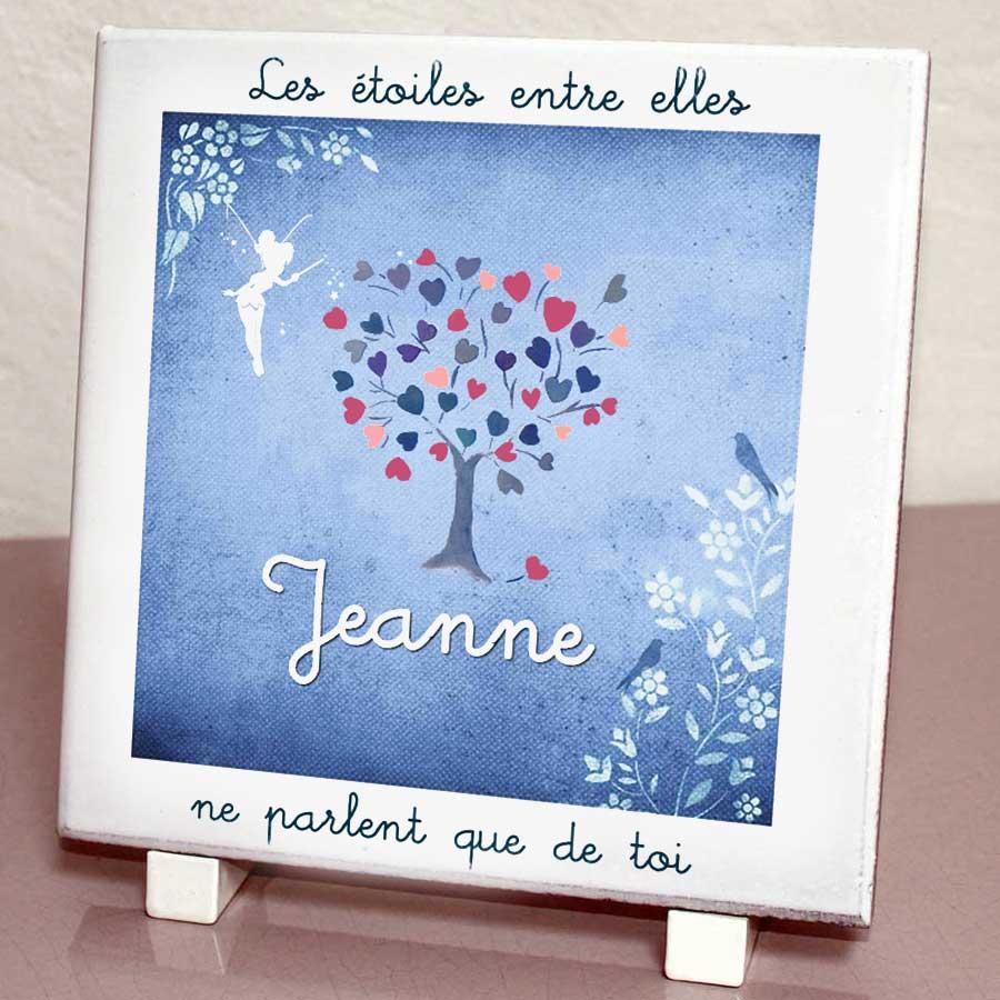 Plaque personnalisée, originale,blanche fee,oiseau,coeurs,etoiles,arbre,cimetière en couleur