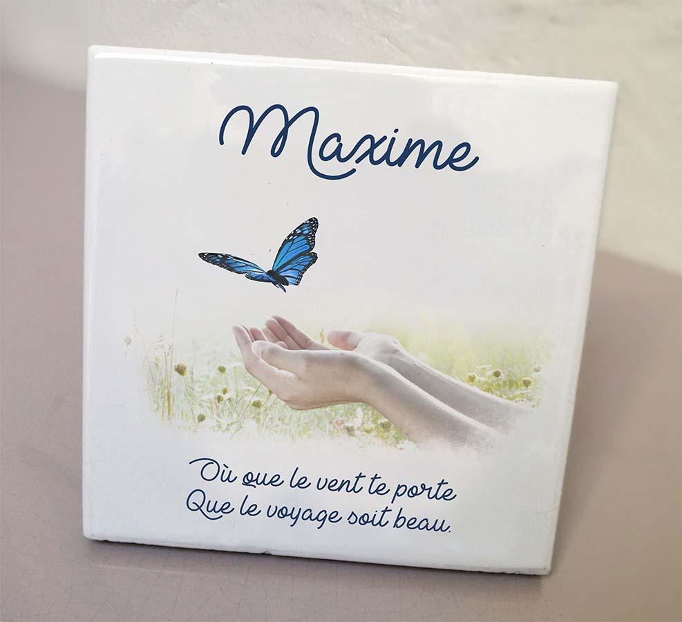 Plaque personnalisée, originale,blanche mains,papillon,champ,bleu,cimetière en couleur