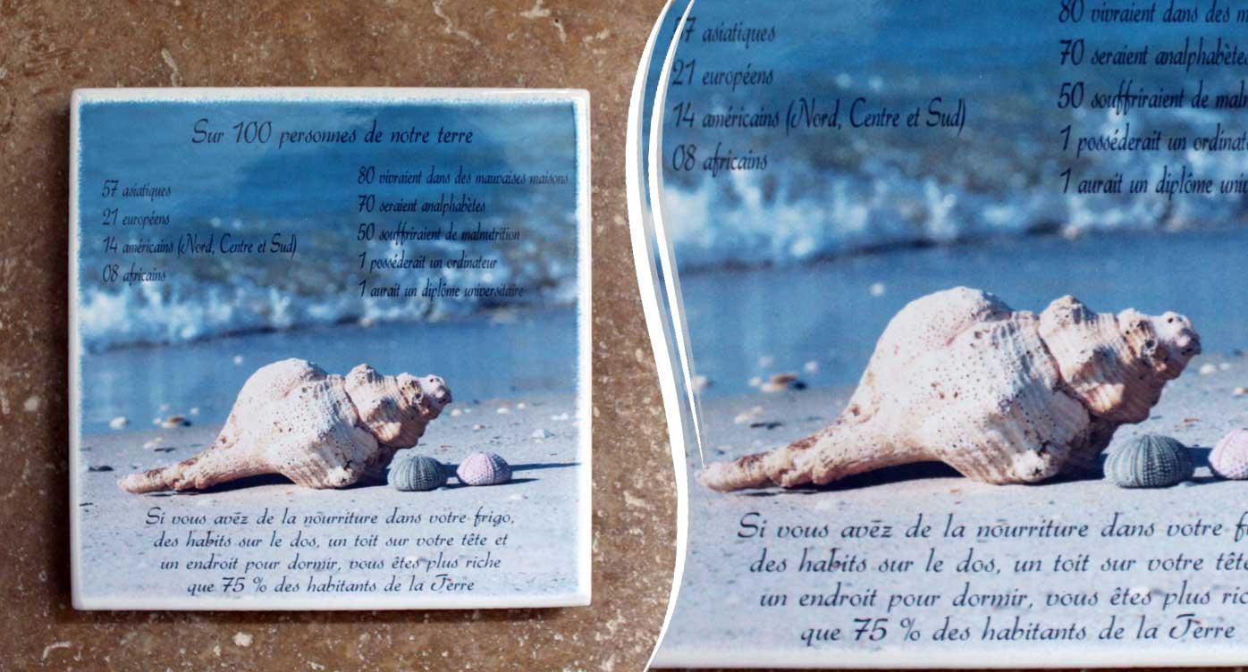 Plaques funeraires en pierre coquillage: Réalisation en pierre de lave émaillée